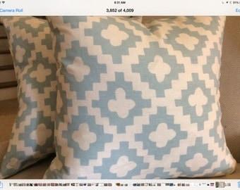 Soft Aqua Quatrefoil Linen Pillow Cover with Linen Backing, Choose Size