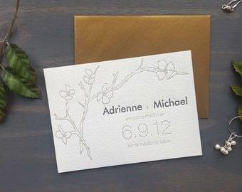 Letterpress Save the Date, Cherry Blossoms, Washington DC, Elegant Custom Wedding Invitation, Grey Metallic Gold, Simple Garden Wedding