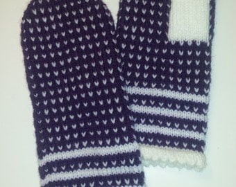 Hand made knitted mittens - Purple