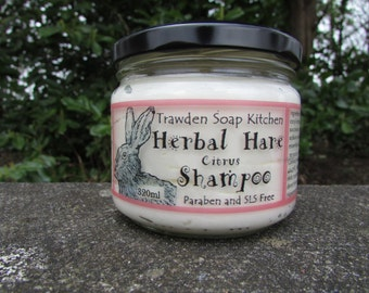 Herbal Hare,  300ml glass jar,  large Shampoo, moisturising with Coconut & Walnut Oil, essential oils, vegan, paraben and sls free, uk