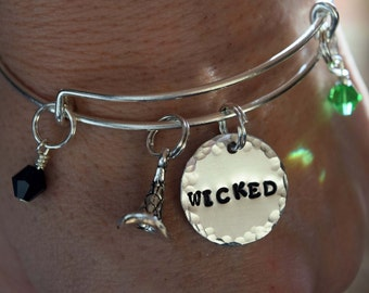 Wicked Bangle. Bracelet. Wicked the Musical.Wizard of OZ. Witches.Wicked Jewelry