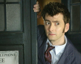 """Doctor Who UK Imported 17"""" X 11"""" 10th Doctor and Coming Out of the TARDIS Poster Print"""