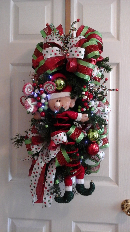 elf christmas swag wreath sale lighted funcute door swag. Black Bedroom Furniture Sets. Home Design Ideas