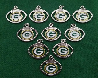 Green Bay Packers Football Charms -- Set of 10