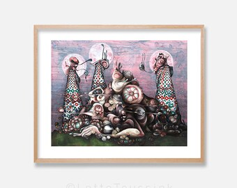 Surreal art print, mysterious painting by Lotte Teussink, dark art, gothic art, goth painting, fantasy art, Dutch art, NL, free shipping