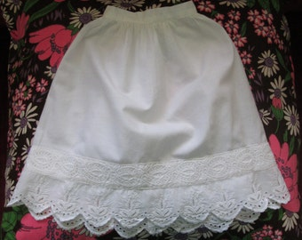 Vintage White Cotton Doll Petticoat With Broderie Anglaise Border  #15079