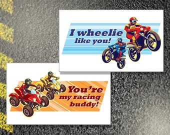 Printable BOY'S RACING BUDDIES Kid's Valentine's Day Card - Childen's Exchange Cards, Classroom Valentine's Cards