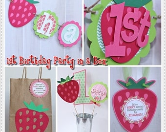 Strawberry Birthday Party in a Box - Strawberry Party Package - 1st Birthday Party Kit