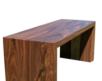 Stowe Series Walnut Waterfall Table, Cascade bench, Coffee Table with Waterfall Edge, Rustic Cascade End Table
