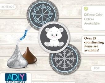 Boy Polar Bear Candy Kisses circles Printable for Baby Boy Shower DIY grey blue , Snowflake - aa105bs20