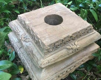 Vintage Handcarved Wood Column Plinth / Base from India - architectural salvage - For home or garden decor or as a sundial stand