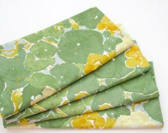 Large Cloth Napkins - Set of 4 - Green Blue Orange Yellow Lilypads