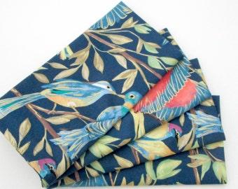 Large Cloth Napkins - Set of 4 - Red Blue Yellow Green Metallic Gold Birds