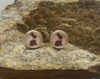 Pink Chocolate Bunny Earrings