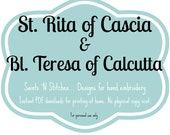 St. Rita & Bl. Teresa of Calcutta / PDF Instant Download Pattern / Hand Embroidered Saint Dolls