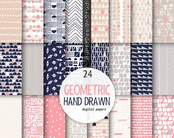 Geometric digital paper hand drawn pattern triangles navy blue and coral beige ivory pink background scrapbooking modern graphics design
