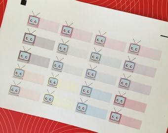 Functional Planner Sticker Set Kawaii Retro TV