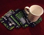 Coasters - Set of 4 - Seattle Seahawk - Cotton Rag Quilting