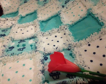 Car Seat Cover/Canopy or Quilt - Teal Trucks & Cars Print - Cotton Flannel Rag Quilt