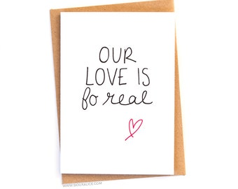 Anniversary card funny Valentines day card fo real boyfriend card for him her love Anniversary our love is foreal funny love card
