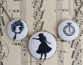 Alice in Wonderland Fabric Button Necklace Japanese Fabric Necklace Kawaii Shadow Necklace KA