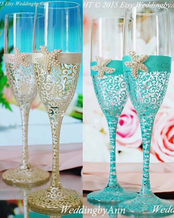 Custom Wedding Wine Glasses Canada : Silver Starfish wedding champagne glasses Beach by WeddingbyAnn