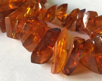 Large Antique Chunky Rich Cognac Baltic Amber Beaded Necklace