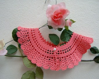 Pink crochet cotton collar-Victorian-lace Collar retro chic fashion-vintage Look feminine and romantic shawl collar