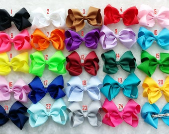 set of 10 pcs 5.5 inch hair bows for girls, baby girls hair bows, large hair bow , bow girl hair, baby bow, with french barrette Q