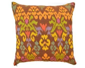 Orange Brown Ikat 16 x 16 cushion cover