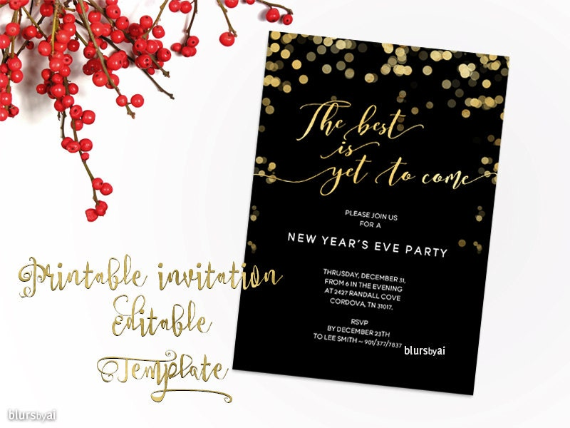 New Years Invitation Template Printable New Year Party