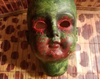 Hand painted creepy doll head