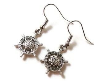 Silver Rudder Earrings, Ship Wheel Earrings, Nautical Jewelry, Nautical Earrings, Charm Earrings, Pirate Jewelry, Women's Beach Jewelry