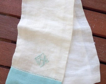 """1940s-50s Ivory and Turquoise Initial """"H"""" High-End Linen Pocket Square"""