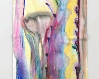 Floral throw blanket in bright colors. Printed artwork, abstract watercolor painting. Soft bedding. Purple Yellow Violet Burgundy