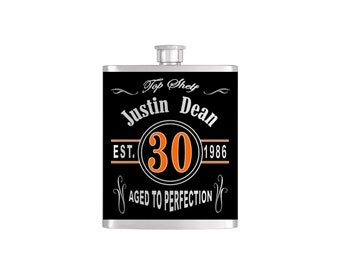 Over The Hill 30th Birthday Flask By Bottoms Up Flasks  - Stainless Steel 8 oz Liquor Hip Flasks - Flask #287