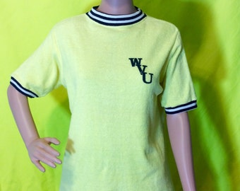 1970s WVU Yellow Terrycloth Shirt, S-M