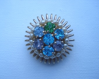 Barclay Costume Jewelry Designer Signed Brooch Pin Rhinestones Faux Pearls 01905