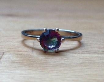 Round Rainbow Fire Mystic Topaz Ring