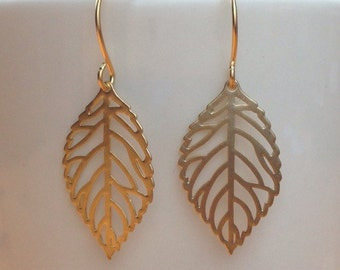 Matte gold leaf pendant earrings