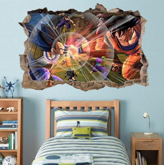 Dragon ball z goku vegeta smashed wall decal by printadream for Dragon ball z mural