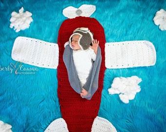 Crochet Airplane Blanket Photography Prop/Plane Photo Prop/Newborn Photo Prop/Baby Shower Gift
