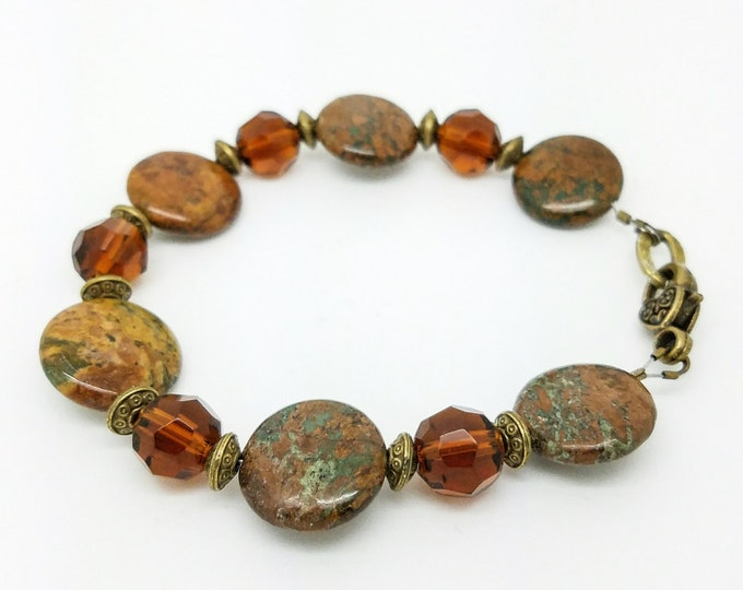 Light Brown Boho Style Bracelet Bohemian Brown Jewelry Bracelet Ethnic Brass Brown Bracelet Boho Chic Bracelet