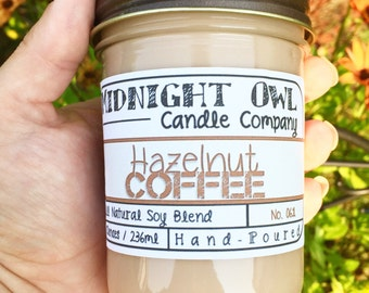 Hazelnut Coffee   Mason Jar Candle, Scented Candle, Soy Candles, Gift for Coffee Lover, Coffee Gift, Candles, Midnight Owl Candle Co.