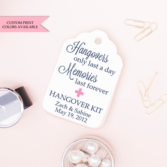 Wedding Favor Tag Kit : Hangover kit tags (30) - Wedding favor tags - Hangover kit ...
