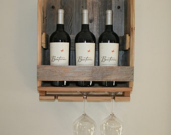 Rustic Barn Wood Wine Rack Farmhouse Style