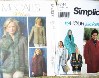 Women's   Coat , Hooded Jacket & suit coats 2 patterns Easy 2 Hour sewing