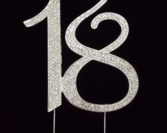 "Number ""18"" Rhinestone Cake Topper"