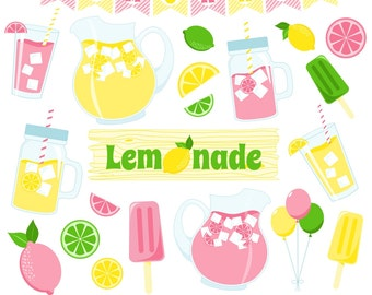 80% OFF SALE Lemonade Clipart, Lemon Clipart, Pink Lemonade, Lemonade Stand, Printable, Commercial Use