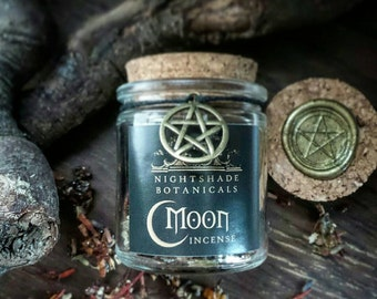 MOON INCENSE ~ All Natural loose incense blend for ritual ~ spell ~ witchcraft ~ resin ~ Magick ~ Full Moon New Moon Moonstone Blessed 50ml